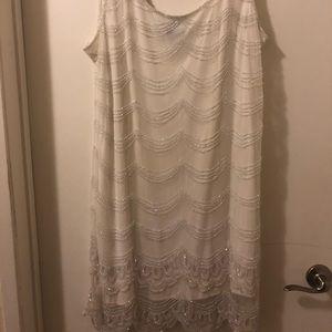 White beaded flapper dress size 18